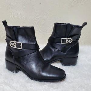 MK leather moto riding boots,  black, logo 7